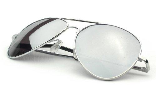 Klassische Pilotenbrille Fliegerbrille Spiegelbrille Sonnenbrille Brille silber verspiegelt