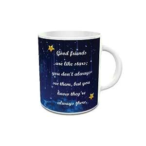 White Ceramic Coffee Mug with Good Friends Quote Design