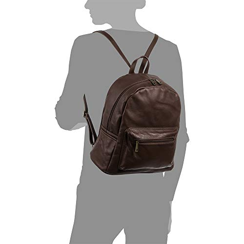 Amazon.com | Firenze Artegiani Mochila De Mujer Casual Piel Auténtica, Acabado Savage Messenger Bag, 34 cm, Brown (Marrón chocolate) | Luggage & Travel Gear