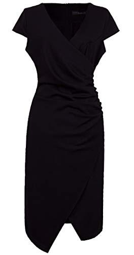 VELJIE Women's Classic V Neck Cap Sleeve Business Faux Wrap Dress(Black,12)
