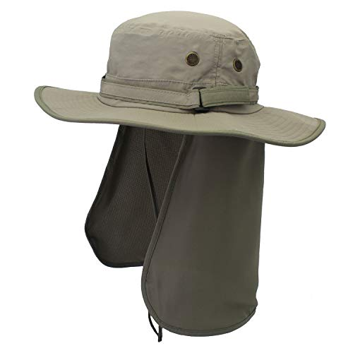 Home Prefer Unisex Quick Drying UV Protection Outdoor Sun Hat with Flap Neck Cover Foldable Fishing Cap Smoky Gray