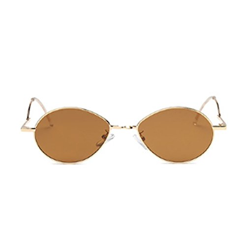 de de Lunettes Lunettes soleil Marron Vintage Dintang en Lens ovale Masculin Femme Fashion métal Ocean Vintage soleil q7CCwTx