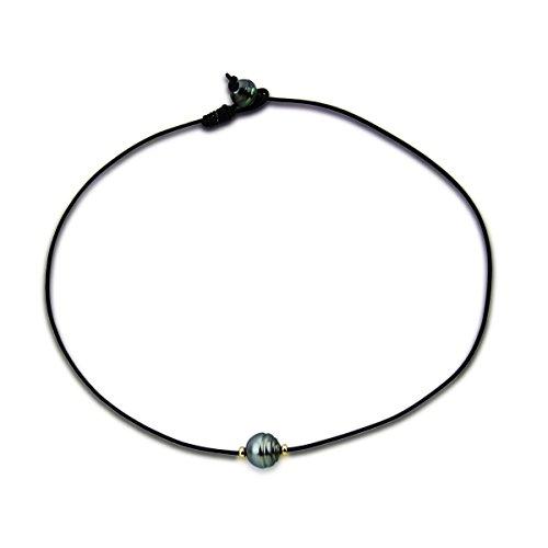 Collier avec pendentif en perle de culture 9–14mm 14carats Or jaune, chaîne en cuir 45,7cm