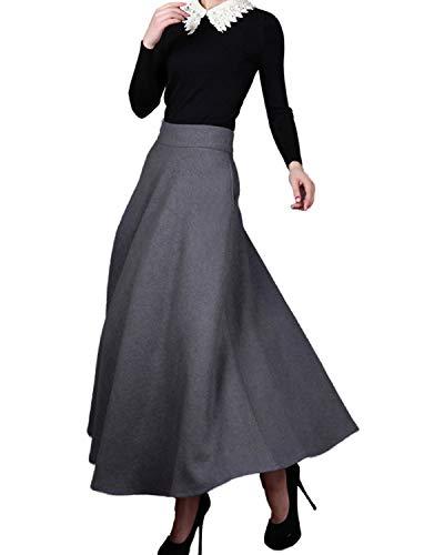 Medeshe Women's Classic Wool Maxi Skirt Long Skirt Winter Skirt