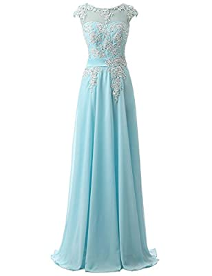 Belle House Women's Long Chiffon Evening Dresses Celebrity Beaded Prom Gown