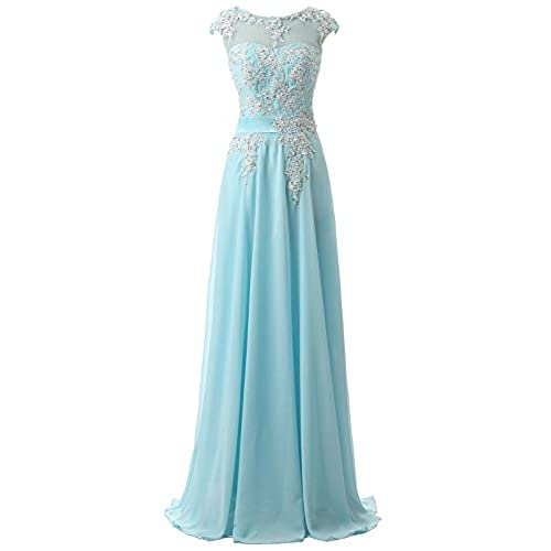 Belle House Sky Blue Prom Dress Cheap Floor Length Bridesmaid Gown SD181SB