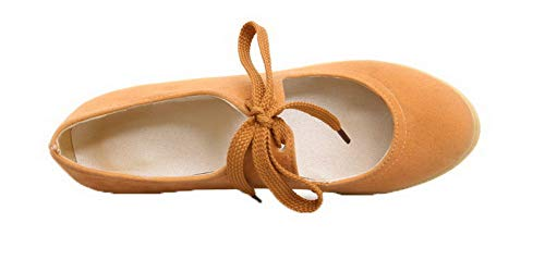 Giallo Puro AgooLar Flats Ballet GMMDB006749 Plastica Donna Allacciare Tonda Punta FwInzprqI