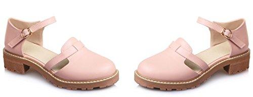 Idifu Womens Casual Hol Dikke Enkelbandje Pumps Schoenen Medium Hakken Roze