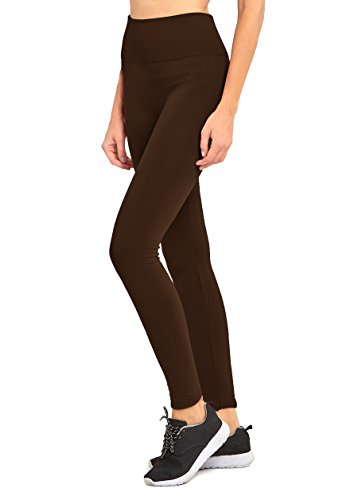 (High Waist Fleece Lined Solid Full Length Premium Leggings Pants Footless Tights for Women Fall Winter Yoga Seamless (Plus Size, LG11 Coffee))