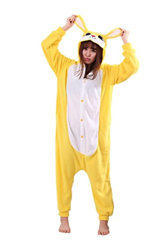 Cheap Rabbit Costumes (Honeystore Unisex Warm Sleepwear Adult Cosplay Rabbit Pajamas Costume Homewear Yellow XL)