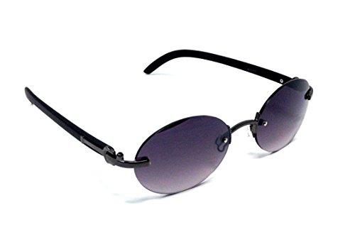 Maestro Rimless Oval Metal & Faux Wood Frame Sunglasses (Gunmetal & Black Wood Frame, Black - Faux Wood Sunglasses