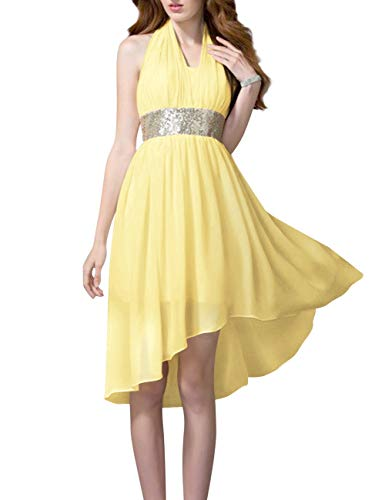 Prom Chiffon Women's High Bess Low Halter Daffodil Homecoming Bridal Dress Sequin Party p0TgwO