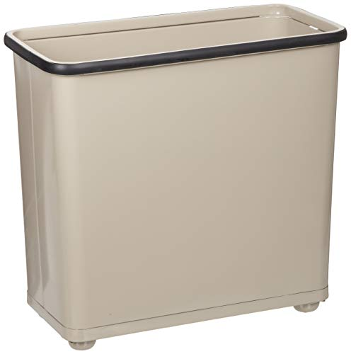 Rubbermaid Commercial Steel Open-Top Waste Basket, Rectangular, 7 ½ Gallon, Almond, FGWB30RAL (Renewed)