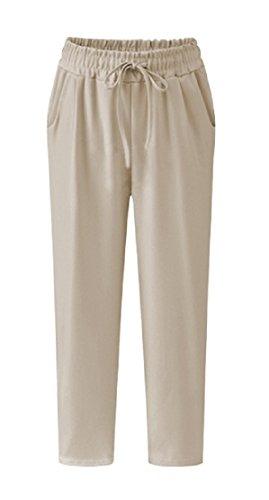 Sorrica Womens Comfy Elastic Waist Drawstring Cotton Linen Cropped Pants
