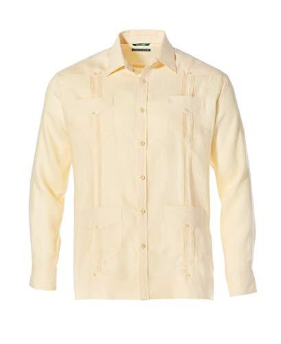 Cubavera Men's Big and Tall Long Sleeve 100% Linen Cuban Guayabera Shirt, Banana Crepe, 5X-Large (Best Guayaberas In Miami)