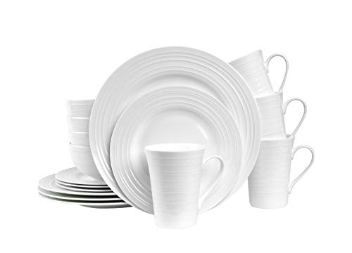 """Stone Lain Round Swirl Design 16 Piece Dinnerware Set, White - One-piece dinnerware set - Bone China set with White swirl design. Includes round dinner plates, salad plates, bowls and handled mugs. Dinnerware Service for 4 - Complete sets, excellent for hosting elegant dinner parties. These home essentials are the ideal kitchen dishes. Swirl designed plates, bowls, mugs - 10. 5"""" dinner plates, 8"""" Salad plates, 6"""" bowls and 13 oz. Mugs have an elegant swirl pattern on the rim. - kitchen-tabletop, kitchen-dining-room, dinnerware-sets - 31MCm83TWuL -"""