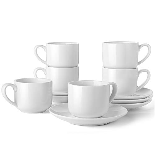 LIFVER Espresso Cups with Saucers, 3.5 Ounce Coffee Cups Set of 6, Porcelain Demitasse Cup, Protective Packaging, - Porcelain 3.5 Ounce