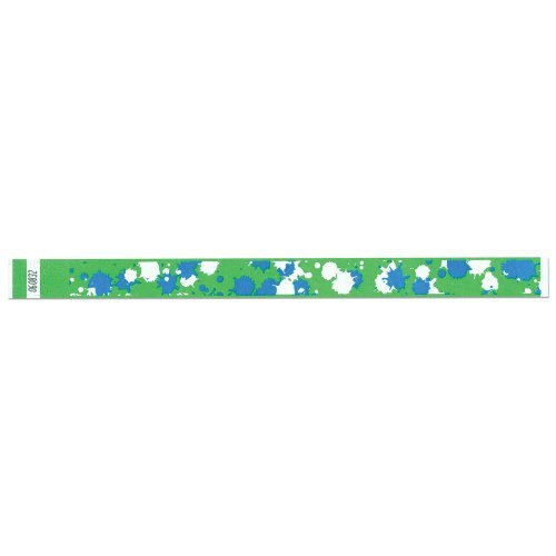 Tyvek Wristbands - 3/4 Inch - Paintball Patterns- Sport Events - Lime Color - 500 Pieces per Box by Precision Dynamics