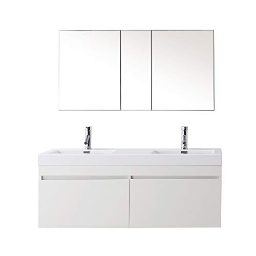 Virtu USA Zuri 55 inch Double Sink Bathroom Vanity Set in Gloss White w/Integrated Square Sink, White Polymarble Countertop, Single Hole Polished Chrome, No Mirror - JD-50355-GW