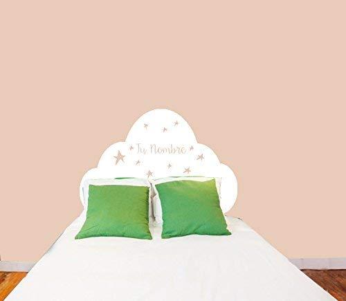 Vinilo Pared cabecero cama decorativo conNOMBRE PERSONALIZADO 90x60cm Cabecero con estrellas para decorar habitaciones Modelo Docliick DC-18017-R (Blanco)
