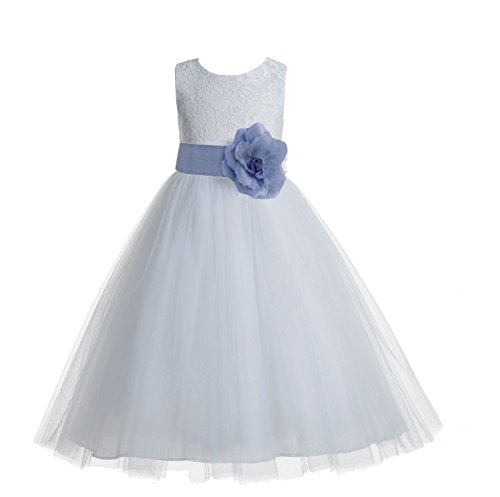 White Floral Lace Heart Cutout Formal Flower Girl Dresses Daily Dresses 172T 4 ()