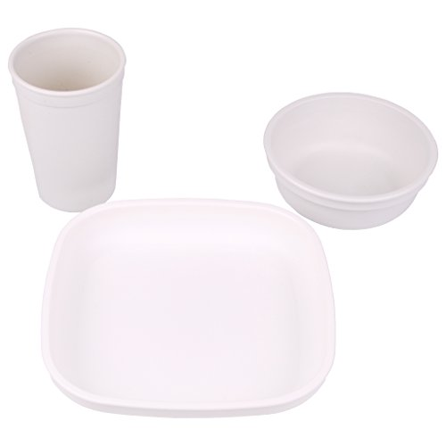 UPC 098601275002, Re-Play Made in the USA Plate, Drinking Cup, Bowl Set for Toddler and Child - White