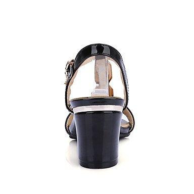 LvYuan Mujer Sandalias Pump Básico Cuero Patentado PU Verano Boda Casual Vestido Fiesta y Noche Pump Básico Pedrería Tacón RobustoBlanco Negro Black