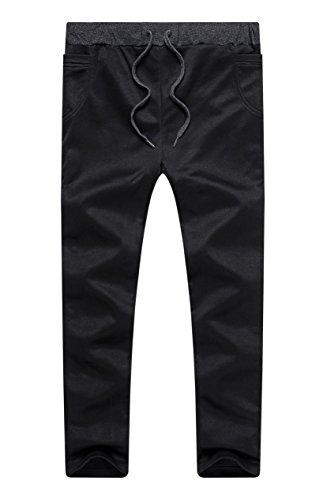 Boy's Slim Fit Skinny Cotton Running Jogger Pants Black 12