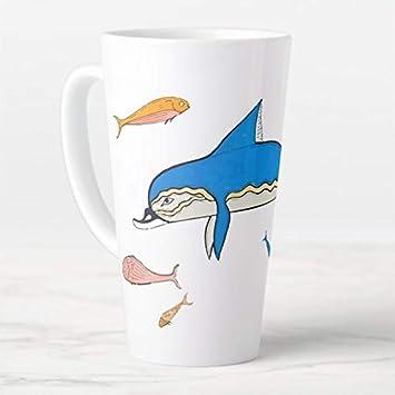 Taza de café de 470 ml, con tapa y cuchara, diseño de delfines micénicos, fresco Knossos 1500 BC con latte, taza de viaje con tapa y cuchara, taza de té
