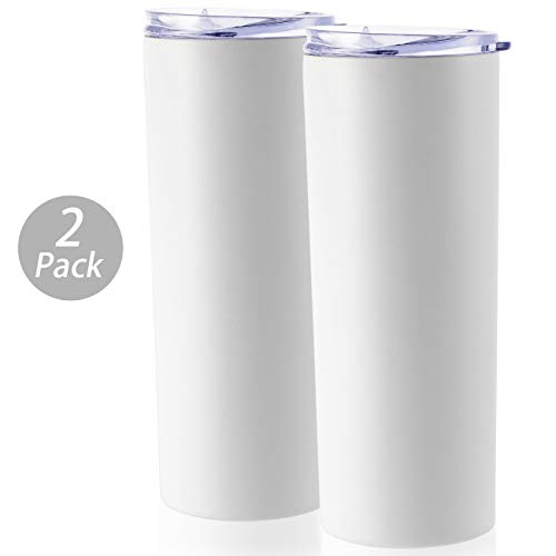 ONEB 2pack Travel Tumbler with Lid 20oz | Double Wall Vacuum Stainless Steel for Coffee, Tea, Beverages (White,2pack)