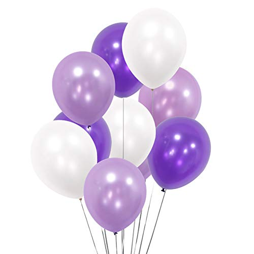 "100 Pack 12"" White Light Purple Dark Violet Balloons for Valentines Day Party Mermaid Theme Decoration Thick Latex Helium Balloons 9.88 Oz/bag Birthday Party Lavernder Balloon Decorations"