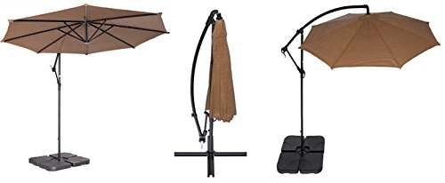 Coolaroo Foot Round Cantilever Freestanding Patio Umbrella - Coolaroo 10 foot round cantilever freestanding patio umbrella mocha