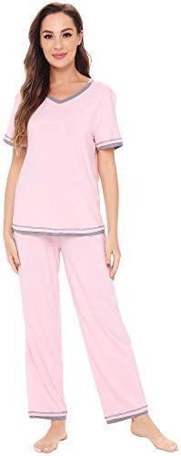 WiWi Womens Bamboo Pajamas Comfy Pajama Set Stretchy Loungewear Pjs Short Sleeves Top with Pants Nightwear S-2X