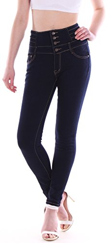 Jeans Pantaloni High Jeans Waist Tubi Donna Hochschnitt In Blau Stretch Blu TUqRw