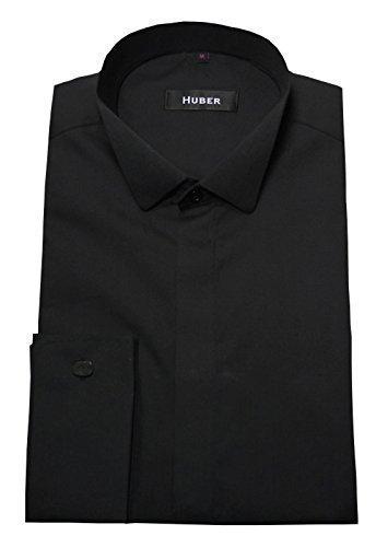 HUBER Smoking-Hemd schwarz Kläppchenkragen 0022 bequemer Schnitt S bis 5XL