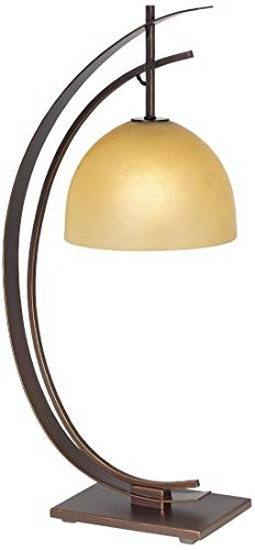 - Kathy Ireland Orbit Bronze Table Lamp with Amber Glass Shade 87-1242-20