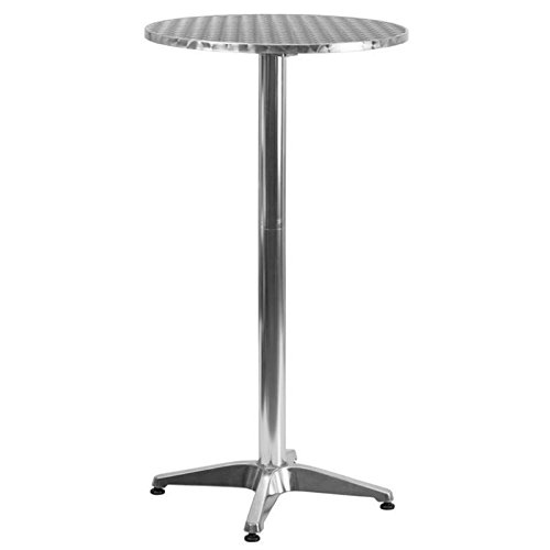 Pemberly Row 25.5'' Round Folding Bar Table in Aluminum by Pemberly Row