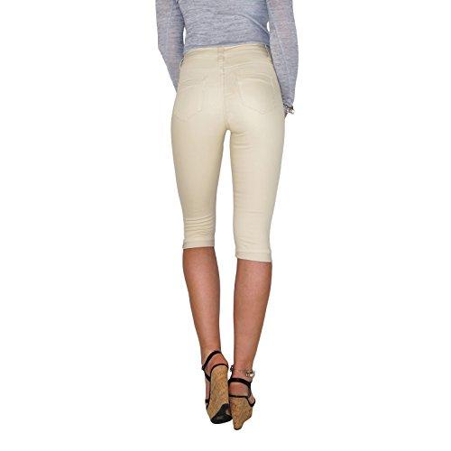 DB Damen Stretch Capri Röhrenjeans bis Übergröße in schwarz, weiß und beige Beige