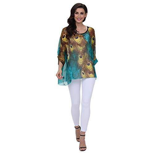 Lovor Women's Tops Chiffon Blouse Boho Floral Batwing Sleeve Beach Loose Tunic Shirt(Multicolor,Free Size