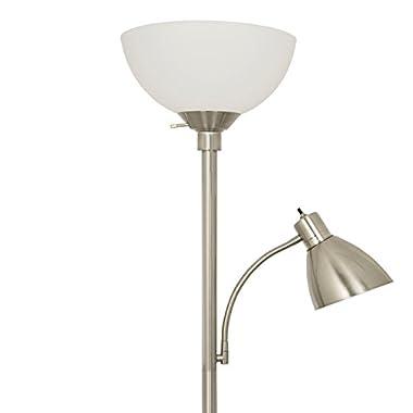 Light Accents 150 Watt Metal Floor Lamp with Side Reading Light (Satin Nickel)