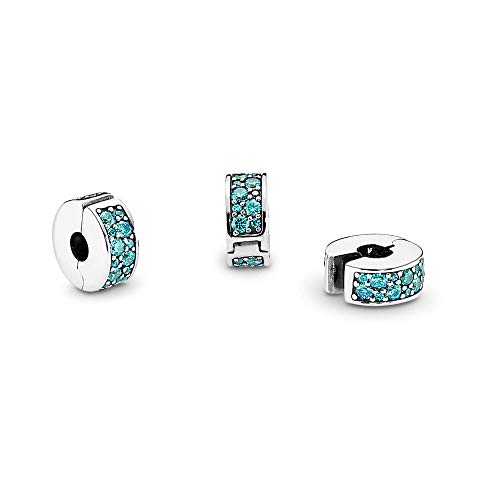 PANDORA Shining Elegance Clip Charm, Sterling Silver, Teal Cubic Zirconia, One Size