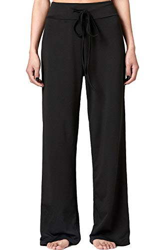 JINGCHENG High Waist Drawstring Casual Pants Super Soft Comfortable High Elasticity Yoga Pajamas Leg Pants (XXXL (US 14), Casual Pants 618-black)