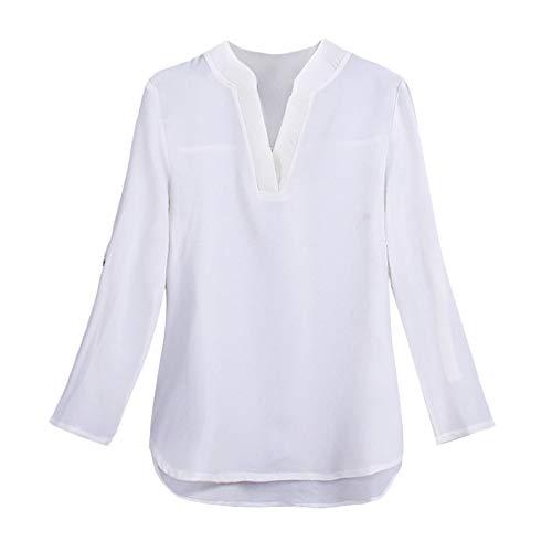 kaifongfu Chiffon Shirt,Women V-Neck Chiffon Pullover Tops Blouse (WhiteXXXXL)