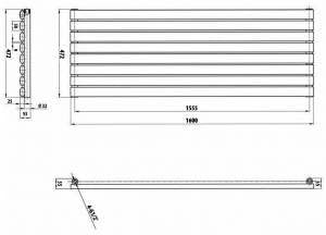 Horizontal Oval Column Designer Radiator 236 x 1600mm Double Black Milano Aruba