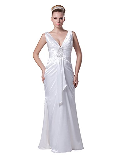 V-Neck Taffeta Wedding Dress - 9
