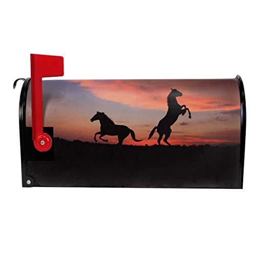 QPKML Horse Silhouette Sunset Grass Meets US Postal Requirements Magnetic Mailbox Cover - 21