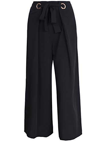 Casual Tie up Wide Leg Cropped Pants High Waist Elasticated Trousers (Black,6/8) ()