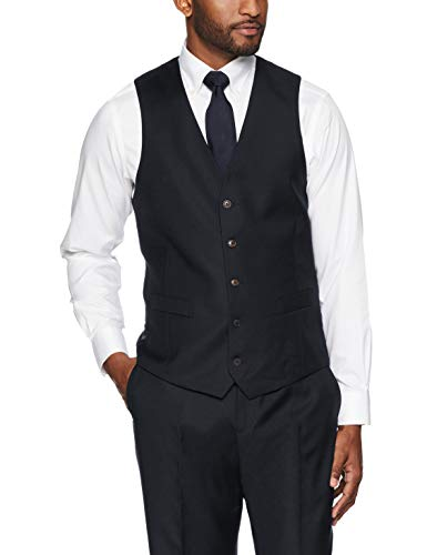 Buttoned Down Men's Tailored Fit Super 110 Italian Wool Suit Vest, Black, 40 Short