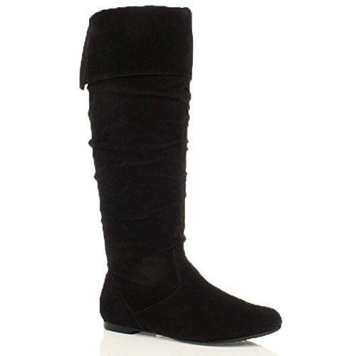 Womens Flat Pirate Boots (Ajvani Women's Flat Cuff Knee High Pull On Slouch Boots Size 10 41)