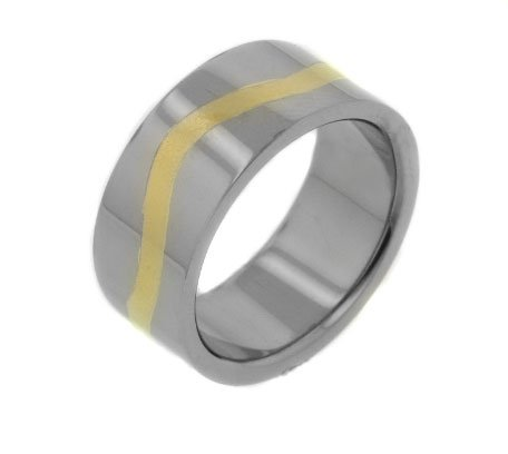 High Polish Mens 9mm Wide Wavy Gold-Tone Striped Center Titanium Wedding Band Ring Size 11(Sizes 8,9,10,11,12,13)